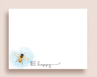 Bee Note Cards - Flat Note Cards - Personalized Honey Bee Stationery - Personalized Bee Stationery - Honey Bee Note Cards -