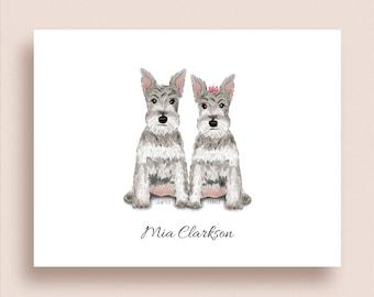 Schnauzer Note Cards - Folded Note Cards - Schnauzer Stationery - Dog Stationery - Schnauzer Thank You Notes - Schnauzer Love