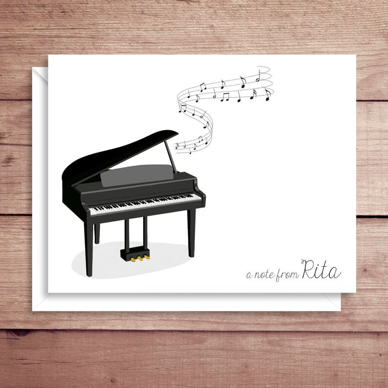 Piano Note Cards - Folded Note Cards - Personalized Piano Stationery -  Piano Thank You Notes - Instrument Note Cards