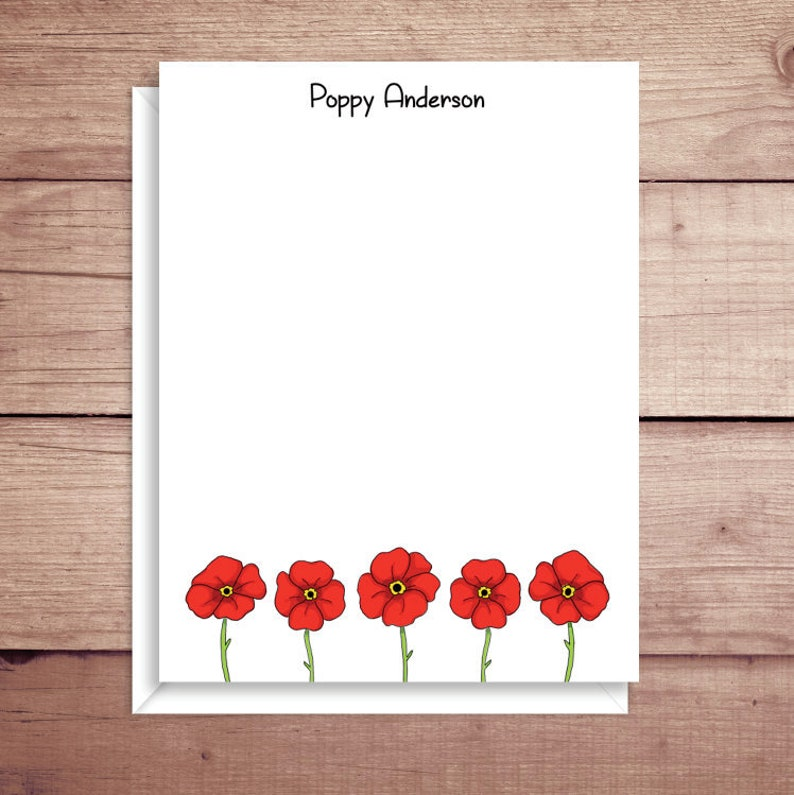 Poppy Flat Note Cards - Poppy Note Cards - Floral Thank You Cards -  Personalized Floral Stationery - Floral Note Cards