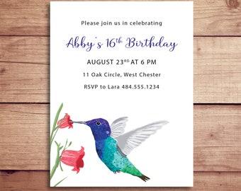 Hummingbird Invitations - Hummingbird Invites - Hummingbird Birthday Party Invitations - Bird Invitations - Hummingbird Party
