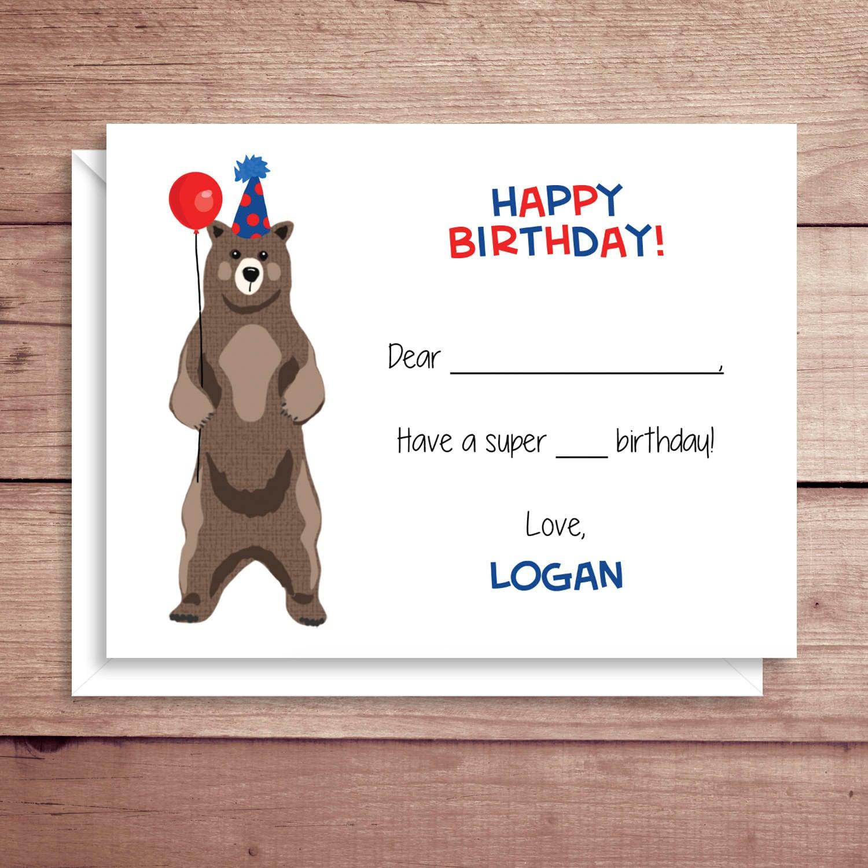 Fill In Birthday Notes Bear Flat Notes Bear Birthday Card Etsy