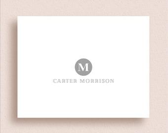 Monogram Note Cards - Monogram Thank You Cards - Circle Monogram Stationery - Folded Note Cards - Personalized Stationery