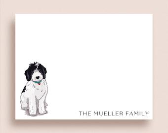 Labradoodle Note Cards - Black & White Labradoodle Notes - Labradoodle Flat Notes - Personalized Labradoodle Stationery - Dog Stationery