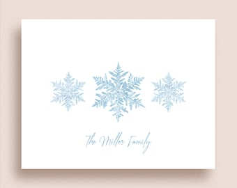 Snowflake Note Cards - Winter Thank You Notes - Snowflake Stationery - Folded Note Cards - Winter Stationery - Snowflake Thank You