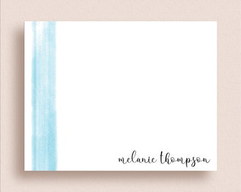 Personalized Note Cards - Flat Note Cards - Personalized Stationery - Personalized Thank You Cards - Watercolor Stationery - Watercolor Wash