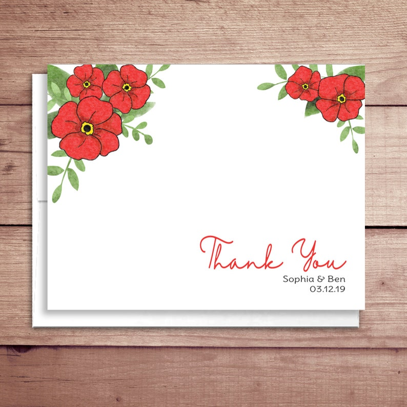 Poppy Note Cards - Bridal Shower Poppy Note Cards - Bridal Stationery -  Bridal Shower Floral Thank You Notes - Floral Note Cards