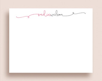 Personalized Note Cards - Flat Note Cards - Personalized Stationery - Personalized Thank You Cards -  Two Color Swash Script Stationery