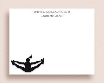 Cheerleader Note Cards - Flat Notes - Cheerleader Thank You - Cheerleading Stationery - Cheerleader Stationery - Cheerleader Silhouette