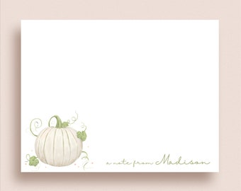 Pumpkin Flat Note Cards - White Pumpkin Note Cards - Pumpkin Thank You Cards - Personalized Fall Stationery - Thanksgiving Note Cards