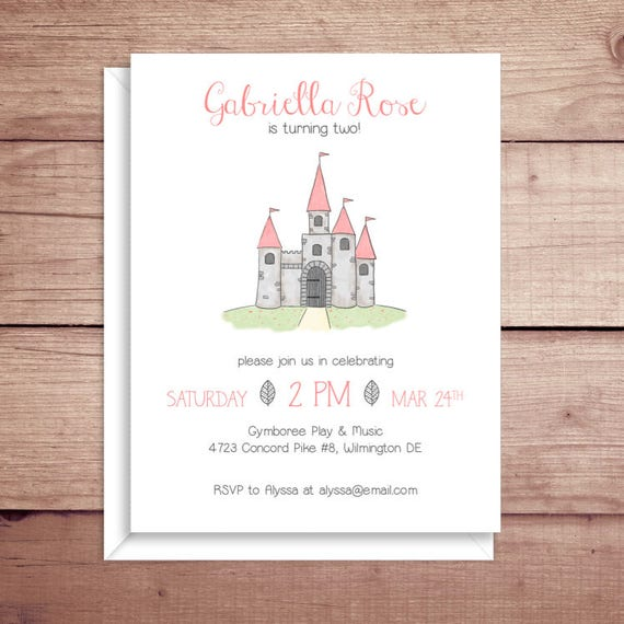 Castle Invitations Princess Birthday
