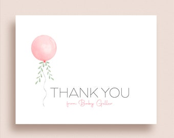 Balloon Note Cards - Folded Note Cards - Personalized Balloon Stationery - Baby Balloon Note Cards - Baby Note Cards - Baby Stationery