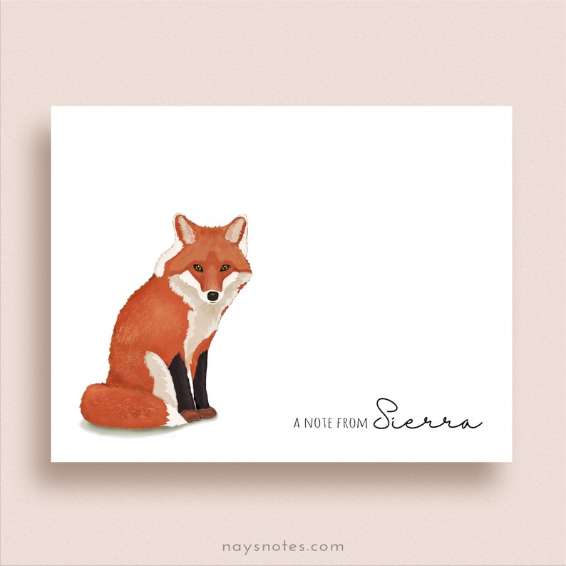 Fox Note Cards  Fox Folded Note Cards  Personalized Red Fox image 0