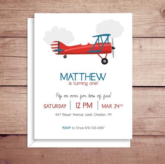 plane invitations plane party invitations plane birthday etsy