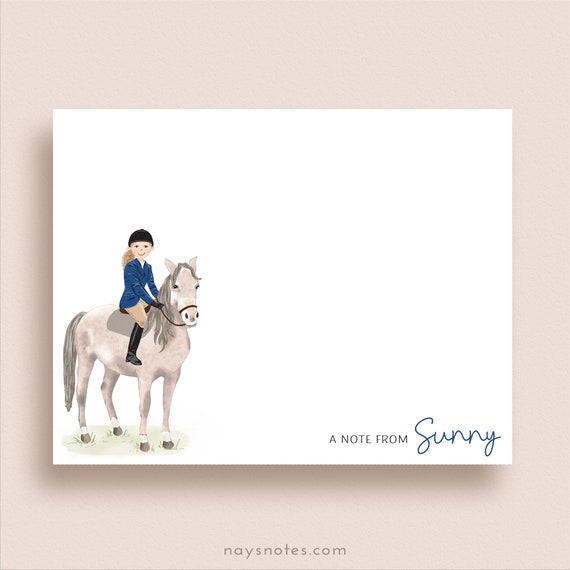 Equestrian Note Cards Horse Thank You Notes Horse Folded Note Cards Horse and Rider Note Cards Personalized Horse Stationery