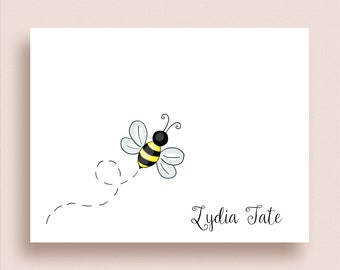 Bee Note Cards - Bumblebee Note Cards - Folded Note Cards - Personalized Bee Stationery - Bumblebee Thank You Notes - Honey Bee Note Cards