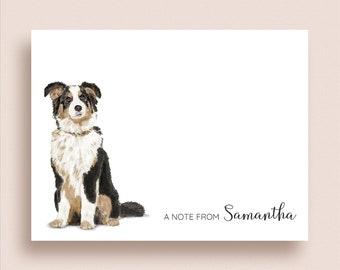 Australian Shepherd Note Cards - Flat or Folded Dog Note Cards - Australian Shepherd Stationery - Dog Stationery - Dog Thank You Notes