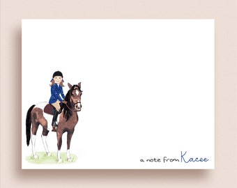 Equestrian FLAT Note Cards - Paint Horse Flat Notes - Horse Stationery - Horse and Rider Note Cards - Equestrian Notes - Horse Note Cards