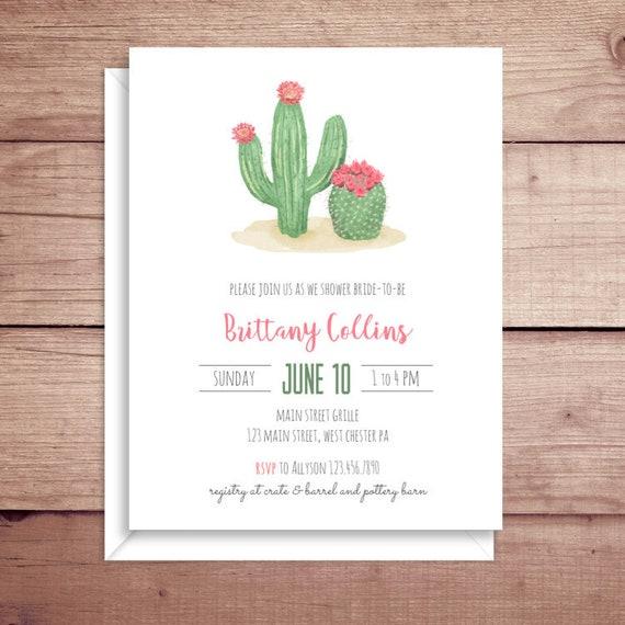 cactus bridal shower invitations cactus shower invitations etsy