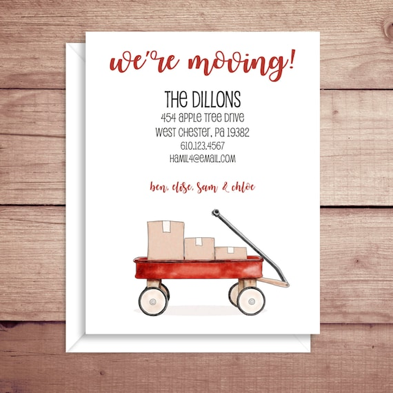 moving announcements new address announcements wagon etsy