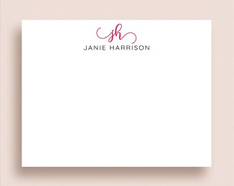Personalized Stationery - Monogram Stationery - Monogram Thank You Cards - Flat Note Cards - Monogram Note Cards - Initial Stationery