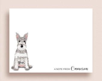 Schnauzer Note Cards - Schnauzer Flat Notes - Schnauzer Thank You Notes - Personalized Schnauzer Stationery