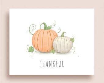 Pumpkin Note Cards - Folded Pumpkin Note Cards - Personalized Pumpkin Stationery - Pumpkin Thank You Notes - Fall Note Cards - Thankful Note