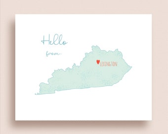 Kentucky Map Note Cards - Folded Note Cards - Kentucky Stationery - Map Thank You Notes - KY State Map Note Cards - Any Kentucky City