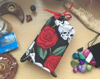 Tarot Bag! Skull and Rose Fabric, Red Ribbon Tie f186fa8093