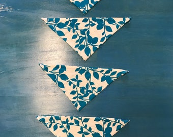 Small Dog or Cat Bandana - Collar Safe - Teal Leaves on Cream Cotton Fabric