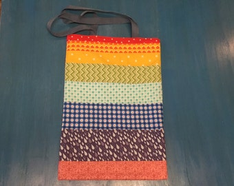 Rainbow Tote Bag Extra Long! with white lining, blue-grey belt straps, colorful side bag!