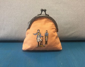 Medium Coin Pouch - George Washington Embroidery - Vintage Upcycled Bag - Standing and Pointing - Orange