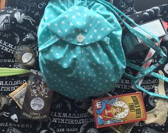 Mini Back Pack! Teal Star Fabric, Small / Medium Bag