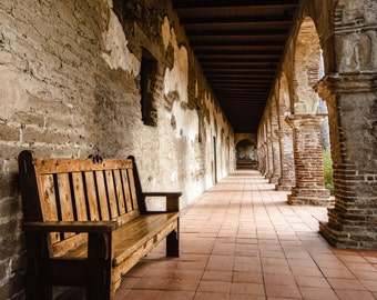 Mission San Juan Capistrano Walkway Photography Print Orange County Fine Art Photograph Wall Art Decor   Also Available on Canvas or Metal