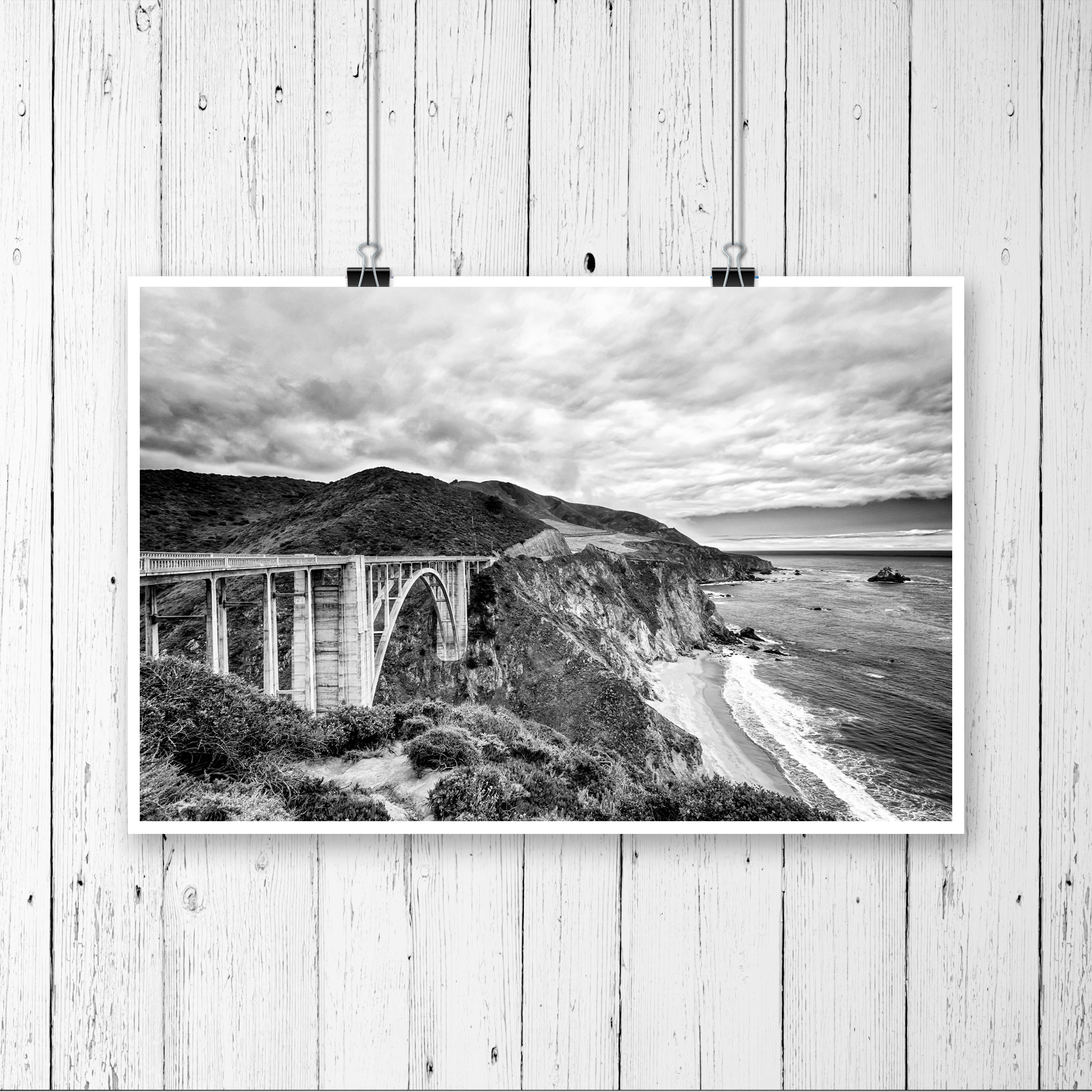 Big sur bixby bridge black and white photography print california landscape fine art wall art decor also available on canvas or metal