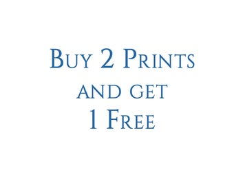 Buy 2 Prints and Get One Free! All Prints Same Size. FREE SHIPPING in US.