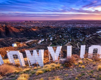 Hollywood Sign Panorama Photography Print Sunset over Los Angeles California Fine Art Wall Art Decor   Also Available on Canvas or Metal