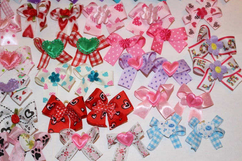 50 Valentine/'s Day Dog Bows 3 sizes Dog Grooming Bows Decorated handmade in the USA