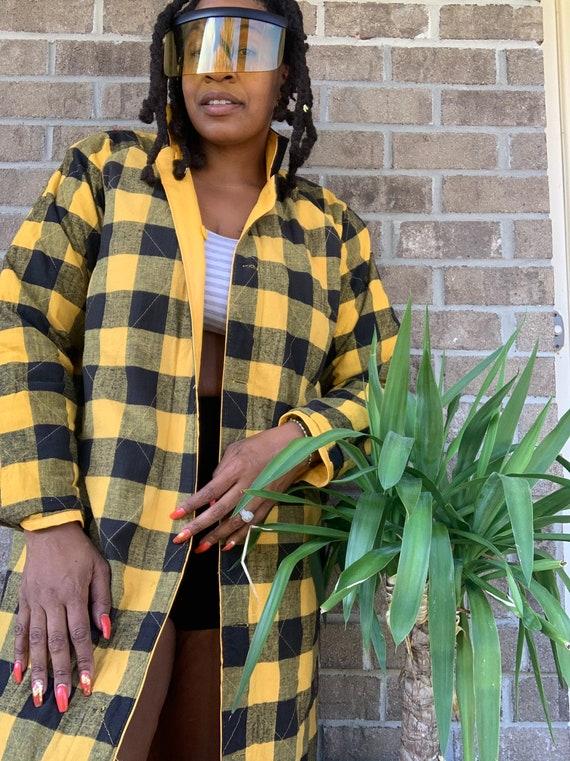 1990s Vintage Yellow Plaid Raincoat