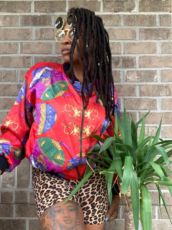 1990s Vintage Silk Bomber Jacket
