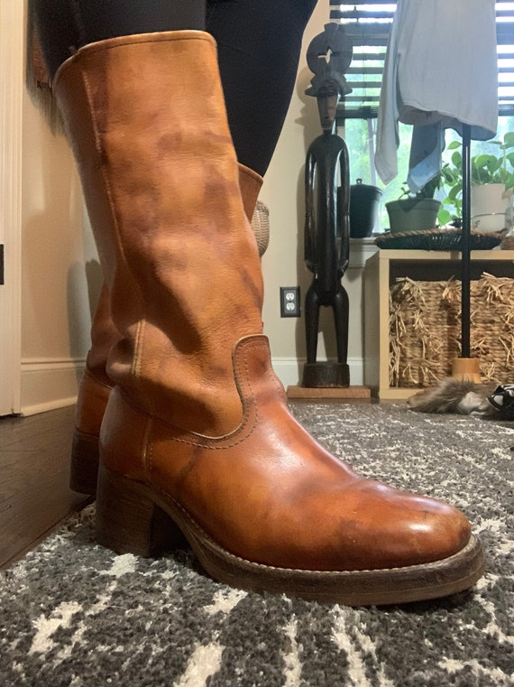 1970s Tan Square Toe Western Boots