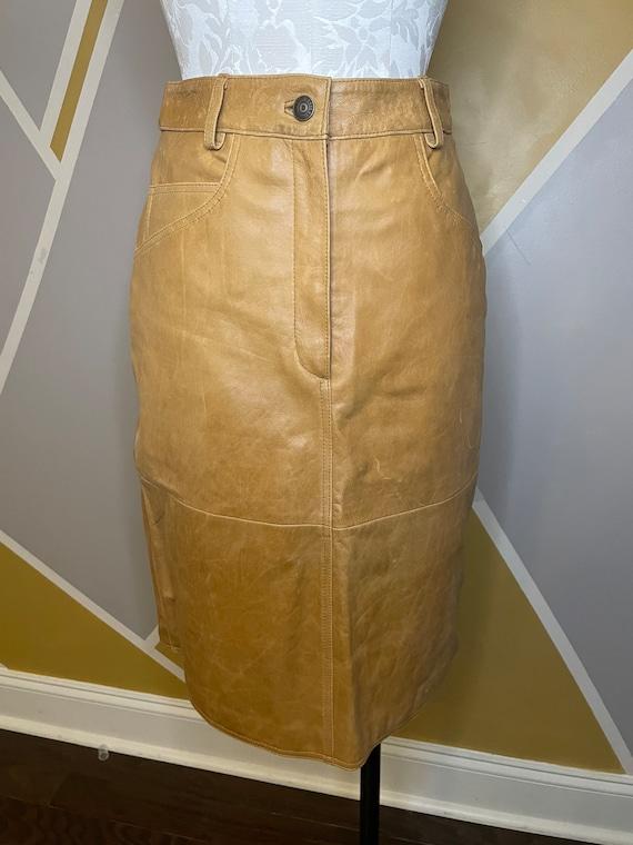 1990s Vintage Leather Camel A Line Skirt