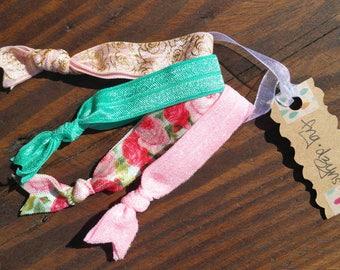 Floral Pastel Hair Ties, Set of 4