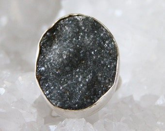 Sparkling Graphite Gray Druzy Crystal Sterling Silver Ring 5.5