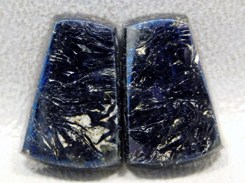 Covellite Stones Cabochons Blue Iridescent Matched Pair for Earrings #E1