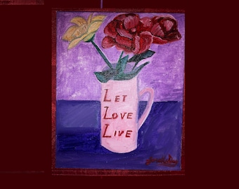 Let Love Live Mug Cup Red Gold Flowers Valentines Day Inkjet Canvas Print