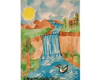 Inkjet Canvas  Print Waterfall Landscape Painting