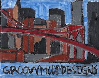 Inkjet Canvas  Print Brooklyn Bridge Architecture Cityscape NYC Painting