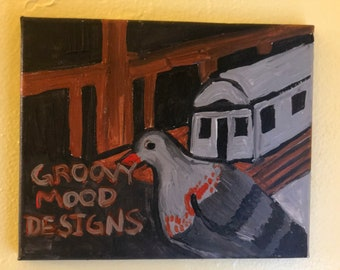 Inkjet Canvas  Print- Pigeon Subway Train Painting