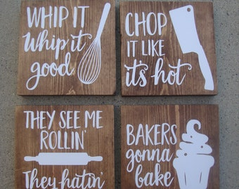Superbe Set Of 4 Funny Kitchen Signs, Kitchen Signs, Rustic Sign, Home Decor, Wood  Sign, Wedding Gift, Quote Signs, Farmhouse Sign, Wall Decor